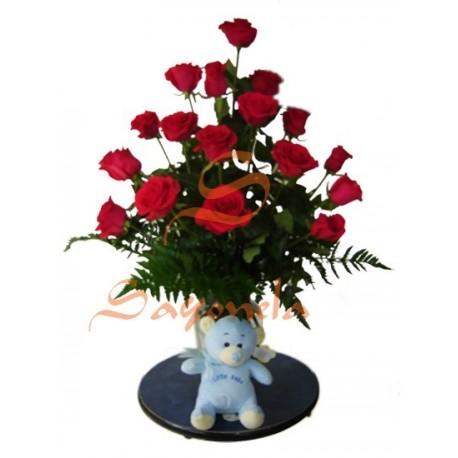 Rosas con Peluche