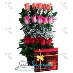 Rosas surtidas y chocolates