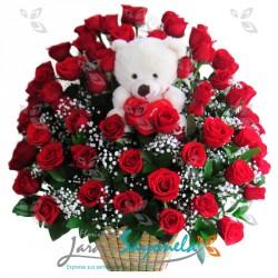 Canasta de rosas y peluche