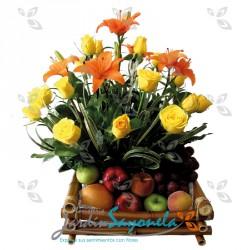 Flores amarillas y Frutas