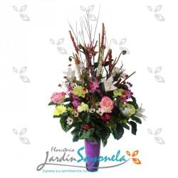 Arreglo mixto de flores artificiales en seda
