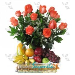 Frutero y rosas