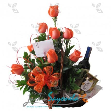 Rosas y vino y chocolates