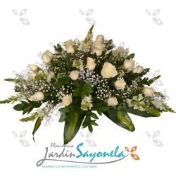 Ramo Funebre de rosas blancas